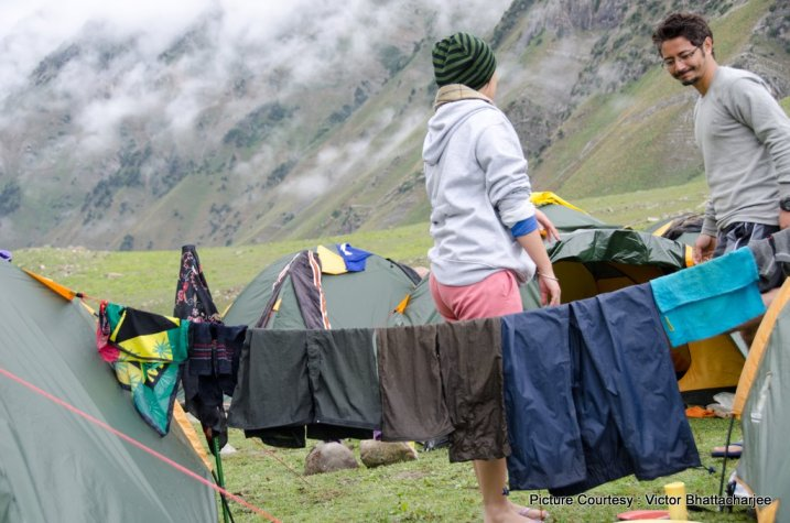 Ah the other joy of trekking with women…they can fashion out a fancy wet clothesline anywhere they go whilst men look on smugly!